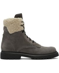 Moncler - Grey Suede Patty Military Boots - Lyst