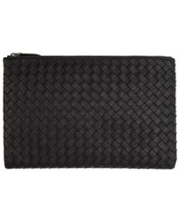 Bottega Veneta - Black Medium Intrecciato Zip Pouch - Lyst