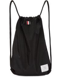 Thom Browne - Black Nylon Drawcord Backpack - Lyst