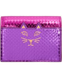 Charlotte Olympia | Pink And Purple Feline Card Wallet | Lyst