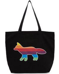 Maison Kitsuné - Ssense Exclusive Black Rainbow Fox Tote - Lyst