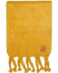 Loewe - Foulard a franges en mohair jaune - Lyst