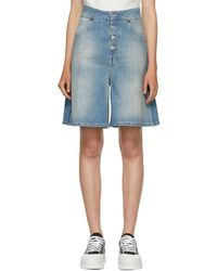 MM6 by Maison Martin Margiela - Indigo Light Garage Wash Denim Shorts - Lyst
