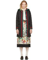 Gucci - Black Long Quilted Web Jacket - Lyst