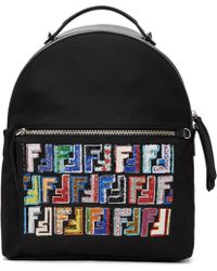 Fendi | Black Embroidered Logo Zaino Backpack | Lyst