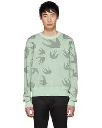 McQ - Green And Black Pointelle Swallows Sweater - Lyst