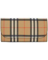 Burberry - Beige And Black Vintage Check Halton Wallet - Lyst