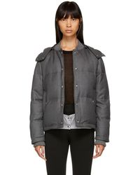 Thom Browne - Grey Down Snap Front Hooded Bomber Jacket - Lyst