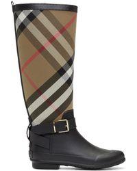 Burberry - Black And Beige Simeon Rain Boots - Lyst