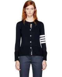 Thom Browne - Navy Two-in-one Four Bar Cardigan - Lyst
