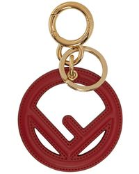 Fendi - Red Leather F Is Keychain - Lyst