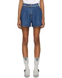 Miu Miu - Blue Denim Selvedge Seam Shorts - Lyst