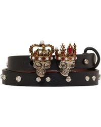 Alexander McQueen | Black And Silver Queen And King Double Wrap Bracelet | Lyst