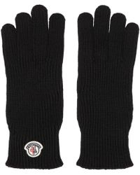 Moncler - Black Wool Logo Gloves - Lyst