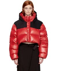 Unravel - Red & Black Down Cropped Jacket - Lyst