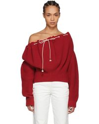 CALVIN KLEIN 205W39NYC - Red Drawstring Sweater - Lyst