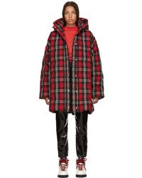MSGM - Red Plaid Down Jacket - Lyst