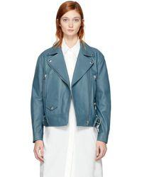 Acne Studios - Blue Leather Merlyn Jacket - Lyst