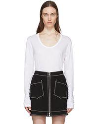 T By Alexander Wang - White Drapey T-shirt - Lyst