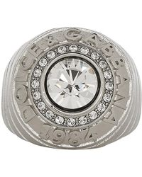 Dolce & Gabbana - Silver Logo Ring - Lyst