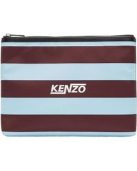 KENZO | Burgundy And Green Striped A4 Logo Pouch | Lyst