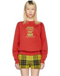 Balenciaga - Red New Logo Sweatshirt - Lyst