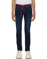 Off-White c/o Virgil Abloh - Blue Skinny Feat Bleach Jeans - Lyst