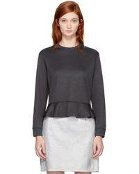 Carven - Grey Ruffled Sweatshirt - Lyst