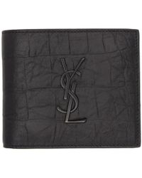 Saint Laurent - Black Croc Monogramme East/west Wallet - Lyst