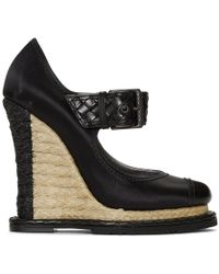 Bottega Veneta - Black Satin Wedge Sandals - Lyst