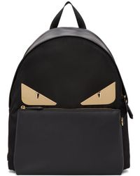 Fendi - Black And Gold Bag Bugs Backpack - Lyst