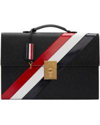Thom Browne - Black Diagonal Stripe Lock Briefcase - Lyst