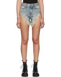 R13 - Blue Vintage Shredded Slouch Denim Shorts - Lyst