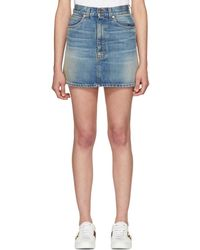 Gucci - Blue Denim Embroidered Cat Miniskirt - Lyst