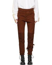Haider Ackermann - Brown Binding Detail Trousers - Lyst