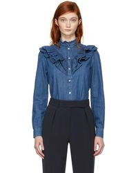A.P.C. - Indigo Denim Suzie Ruffles Shirt - Lyst