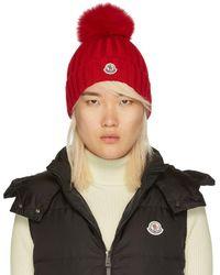 Moncler - Red Fur Pom Pom Beanie - Lyst