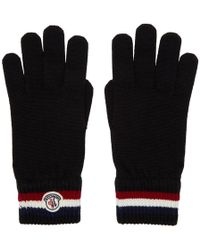 Moncler - Black Wool Corporate Gloves - Lyst