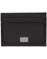 Dolce & Gabbana - Black Logo Plaque Card Holder - Lyst