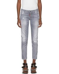 DSquared² - Grey Skinny Crop Jeans - Lyst