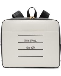 Thom Browne Black And White Paper Label Zip-top Book Backpack