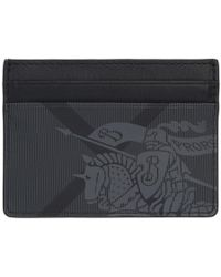 Burberry - Grey And Black London Check Ekd Card Holder - Lyst