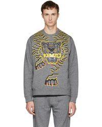 KENZO - Grey Geo Tiger Sweatshirt - Lyst