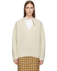 Acne Studios - Beige Deborah Deep V-neck Sweater - Lyst