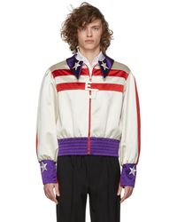 Gucci - Red And White Silk Duchesse Elton John Jacket - Lyst