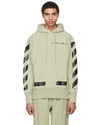 Off-White c/o Virgil Abloh - Beige And Black Champion Edition Logo Hoodie - Lyst