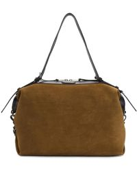 Saint Laurent - Brown Suede Medium Id Duffle Bag - Lyst