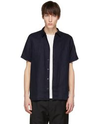 PS by Paul Smith - Navy Short Sleeve Linen Shirt - Lyst