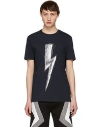 Neil Barrett - Navy Scribble Lightning Bolt T-shirt - Lyst