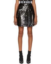 Versus - Black Sequinned Elastic Waistband Miniskirt - Lyst